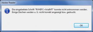 Fehlermeldung beim Öffnen von PrometheusNET.pdf