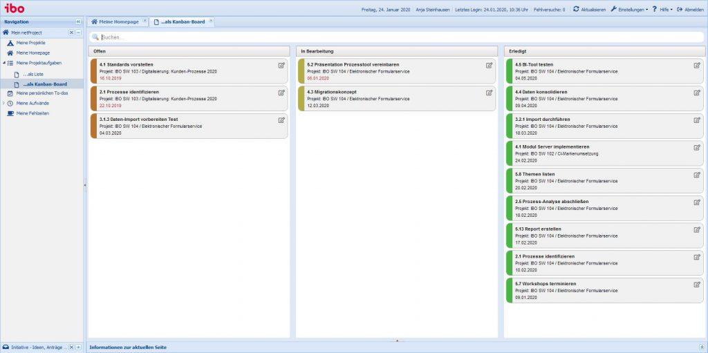ibo netProject: Bearbeiten von Aufgaben aus dem projektübergreifenden Kanban-Board